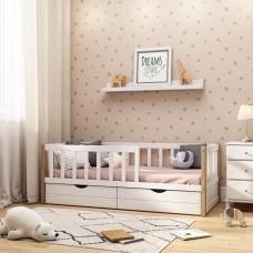 """Подростковая кровать """"Basic"""" бук с натуральными стойками, 160x80"""