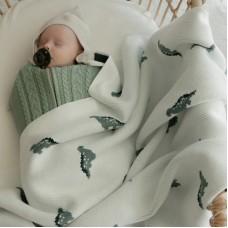 Вязаный детский плед MINI DINO Молочный