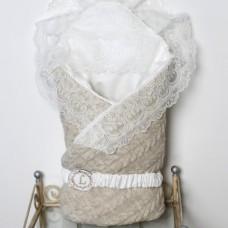 Одеяло-конверт трикотажный из вязаного полотна - Бежевый